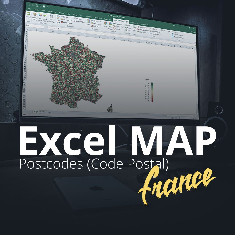 Excel Map France Postcodes (Code Postal)