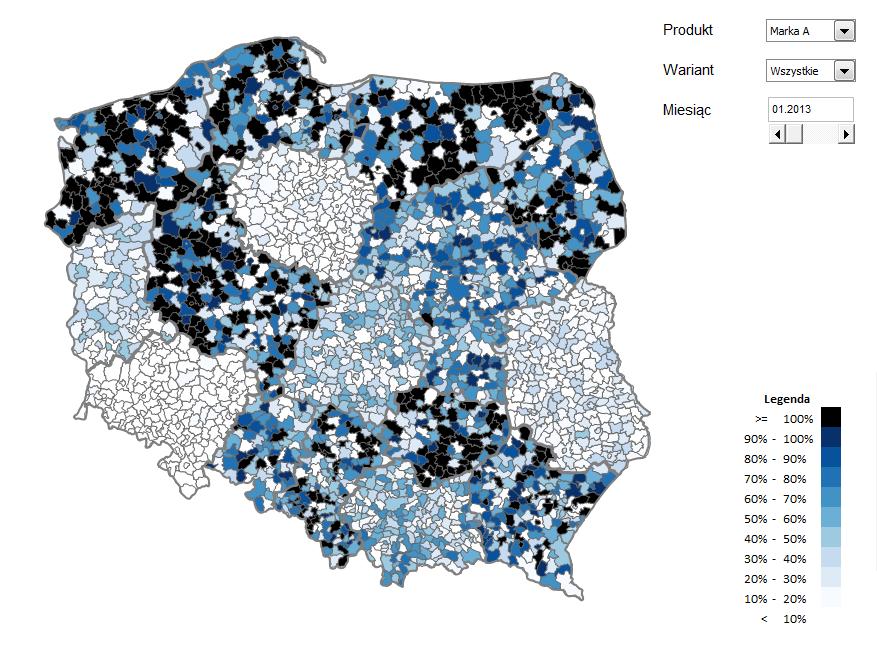 Mapa Polski Excel TOP 4 v2