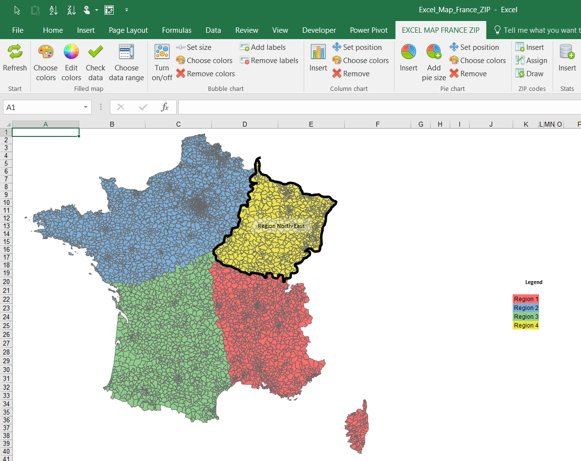 Regions In France Map.How To Build Your Own Regions Areas Example For Excel Map