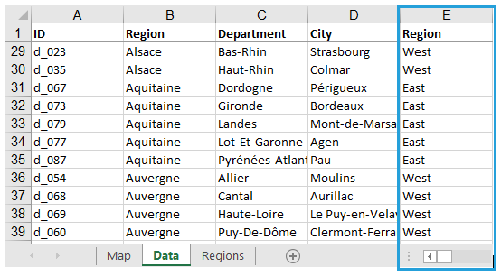 Map Of France Departments.How To Build Custom Regions In Excel Map Example For France