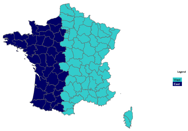 Map Of Regions Of France.How To Build Custom Regions In Excel Map Example For France