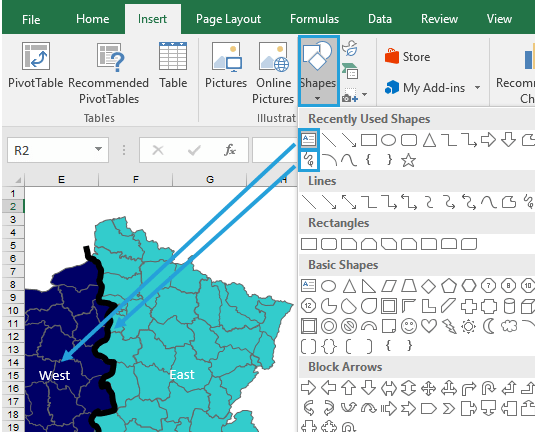 How to build custom regions in Excel Map? – Example for