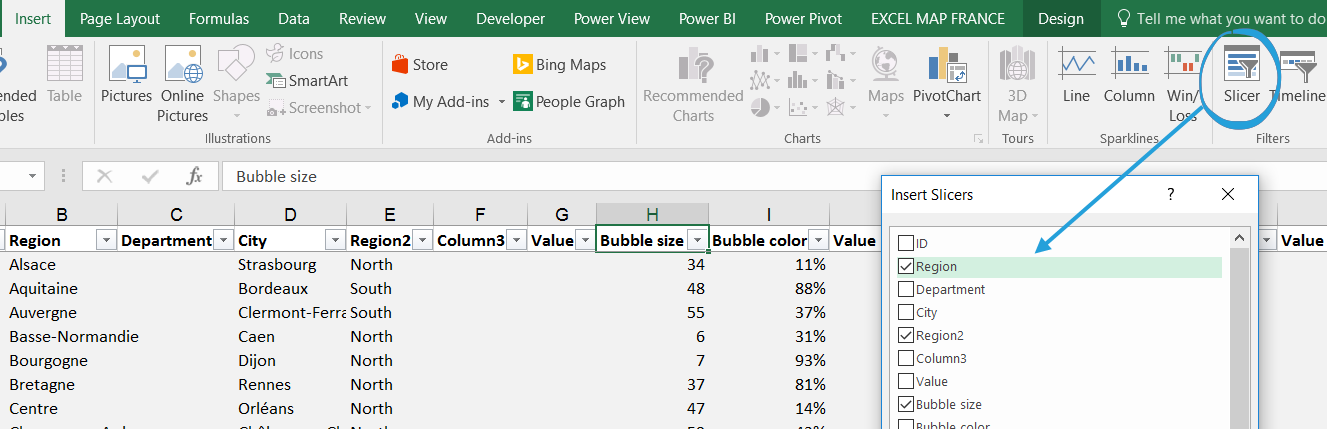 2 ways to filter the bubble chart on Excel Map - Maps for