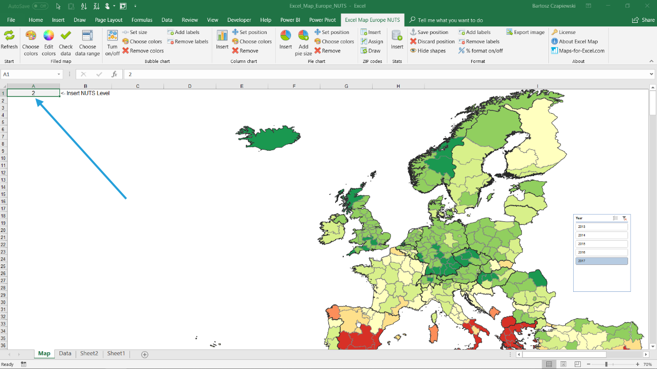 How to create a statistics map for Europe NUTS levels 0-1-2 ...